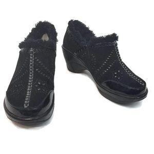 JAMBU J-41 Fur Capri Clog Wedge Shoes Black Size 6